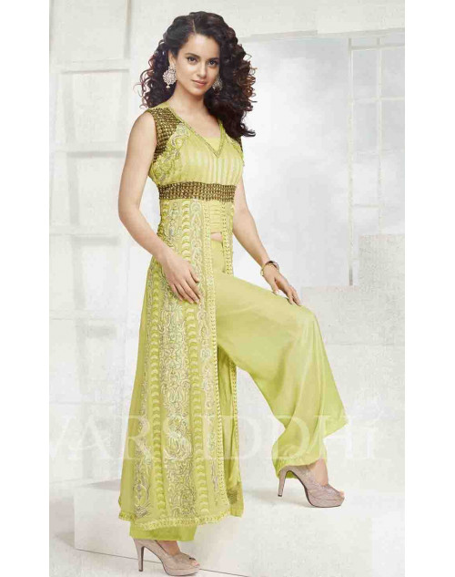 Kangana Ranaut LightGreen Pure Georgette Dress Materials