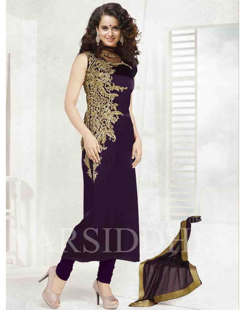 Kangana Ranaut Purple Malmali Silk Dress Materials
