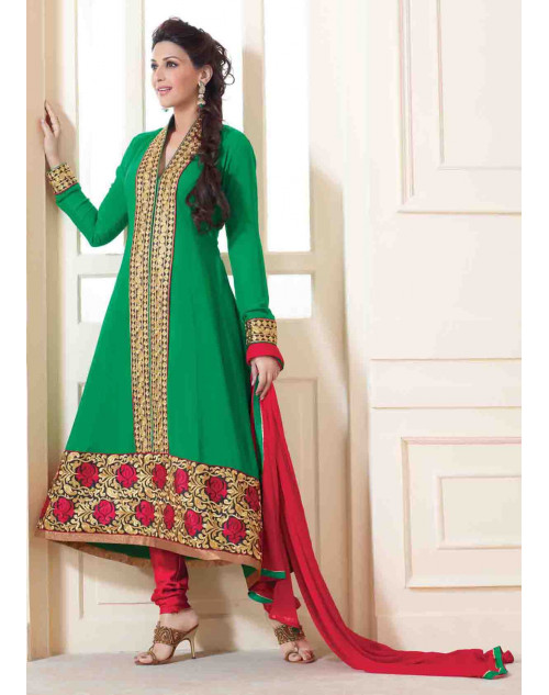 Sonali Bendre Green and Red Semi Stitched Georgette Embroidery Anarkali Suit