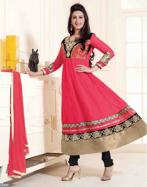 Sonali Bendre Red Semi Stitched Georgette Embroidery Anarkali Suit