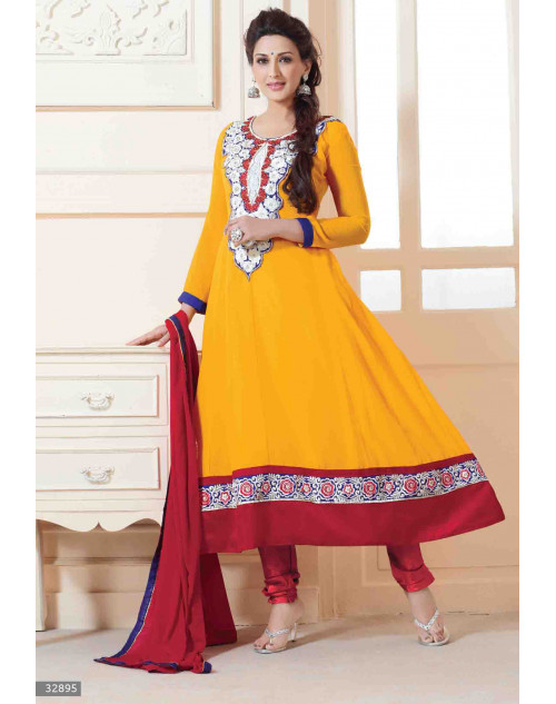 Sonali Bendre Yellow and Red Semi Stitched Georgette Embroidery Anarkali Suit