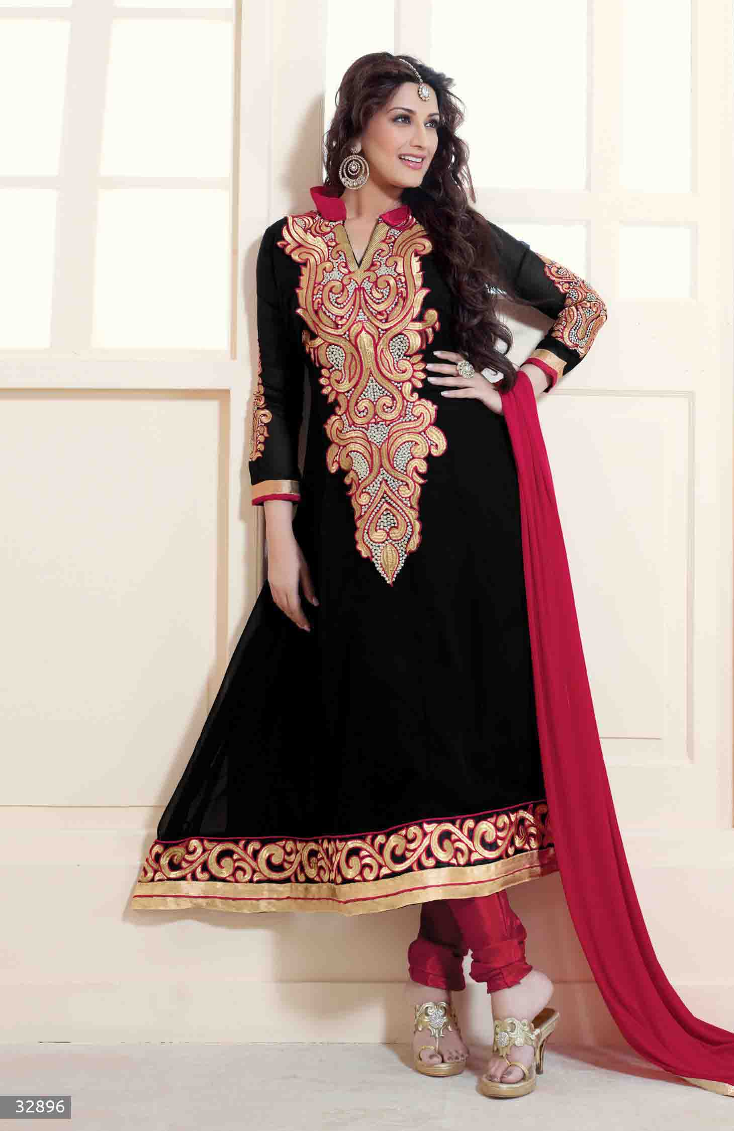 f88d854c9b Click on Photo. Sale Sonali Bendre Black and Red Semi Stitched Georgette  Embroidery Anarkali Suit