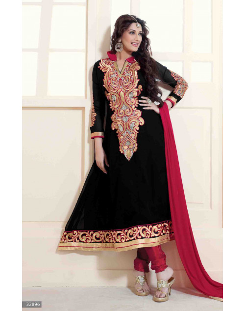 Sonali Bendre Black and Red Semi Stitched Georgette Embroidery Anarkali Suit