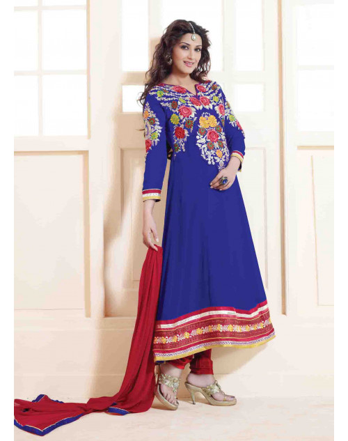 Sonali Bendre Blue and Red Semi Stitched Georgette Embroidery Anarkali Suit