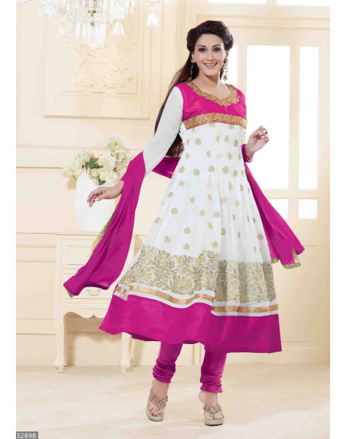 Sonali Bendre White and Pink Semi Stitched Georgette Embroidery Anarkali Suit