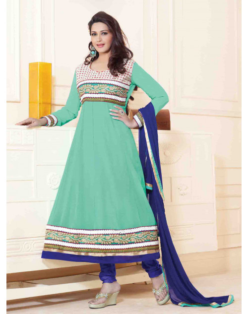 Sonali Bendre SeaGreen and Blue Semi Stitched Georgette Embroidery Anarkali Suit