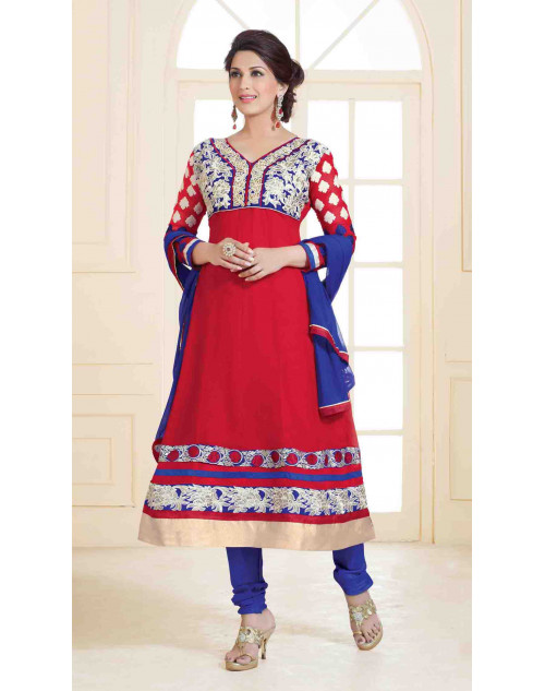 Sonali Bendre Red and Blue Semi Stitched Georgette Embroidery Anarkali Suit
