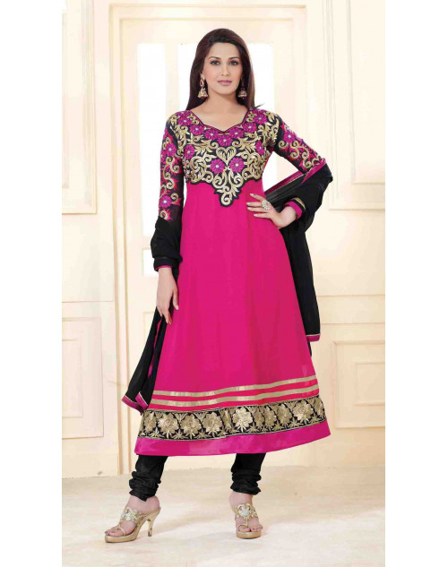 Sonali Bendre Pink and Black Semi Stitched Georgette Embroidery Anarkali Suit