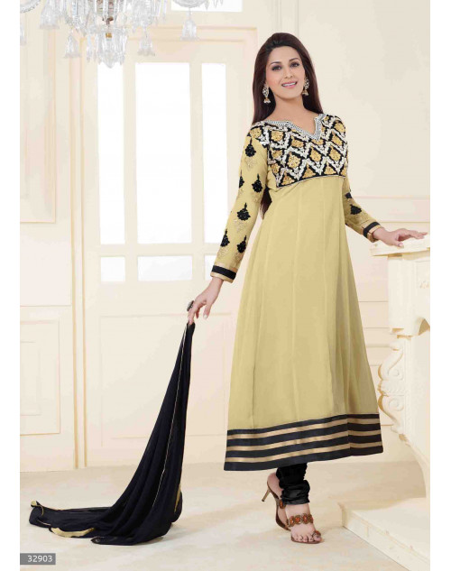 Sonali Bendre Cream and Black Semi Stitched Georgette Embroidery Anarkali Suit