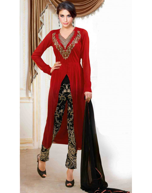 Maroon Georgette With Embroidery Salwar Kamiz