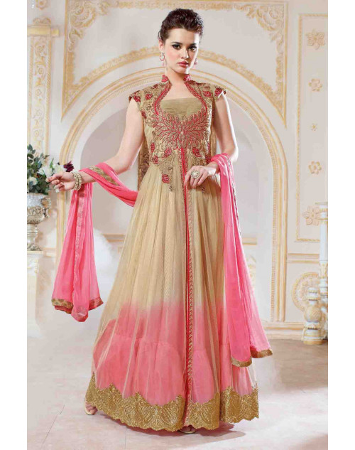 Cream and Peach Net With Embroidery Salwar Kamiz