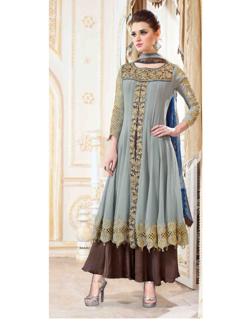 Grey Georgette With Embroidery Salwar Kamiz