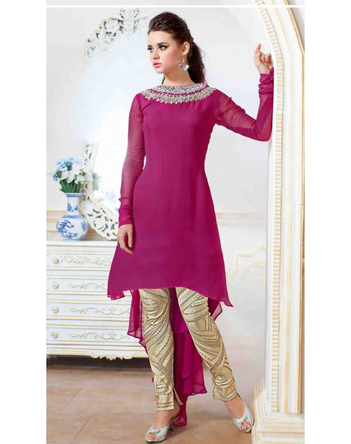 Pink Georgette With Embroidery Salwar Kamiz