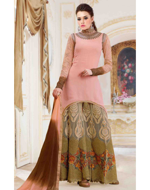 Peach Georgette With Embroidery Salwar Kamiz