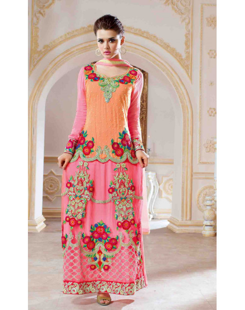 Orange and Pink Net and Georgette Salwar Kamiz