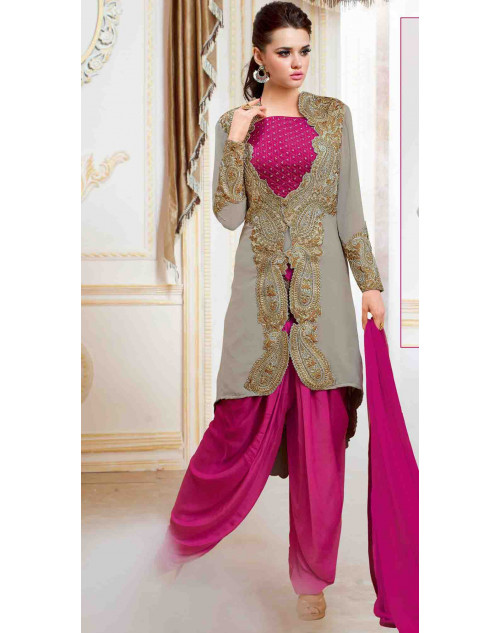 Pink Satin With Embroidery Choli