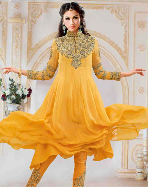 Yellow Georgette With Embroidery Salwar Kamiz