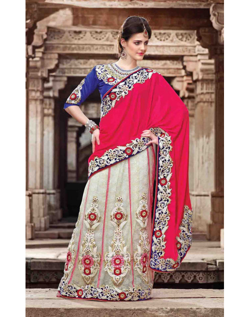 White Viscose and Net Bridal Lehenga Saree
