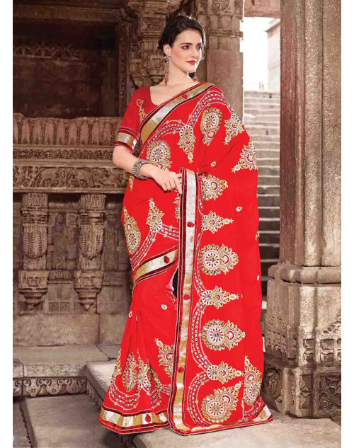 Red Chiffon Bridal Saree