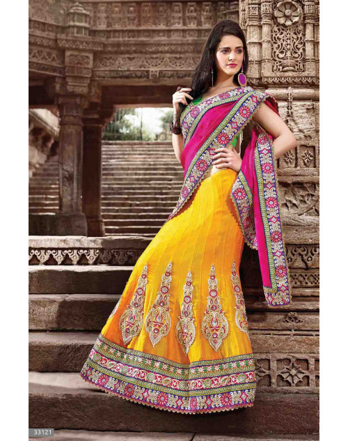 Yellow Jacquard and Net Bridal Lehenga Saree