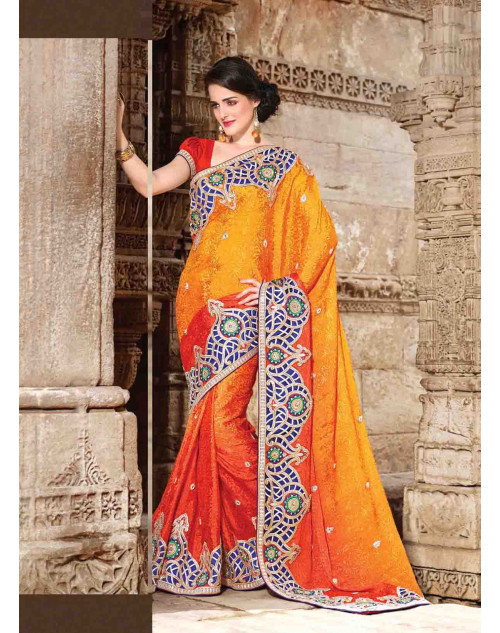 Orange Jacquard Bridal Saree