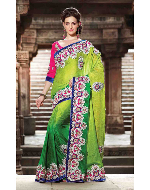 Green Jacquard Bridal Saree