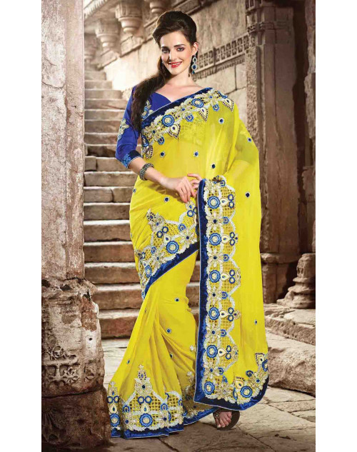 Yellow Bemberg Bridal Saree