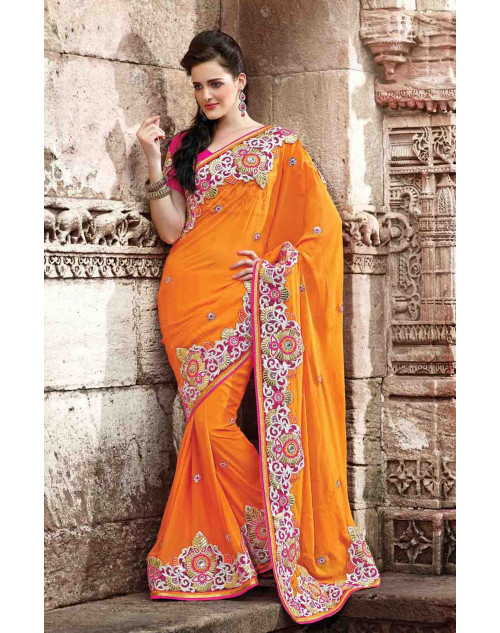 Orange Bemberg Bridal Saree