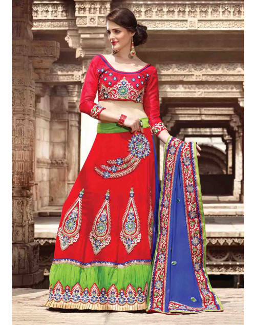 Red Velvet Bridal Lehenga Saree