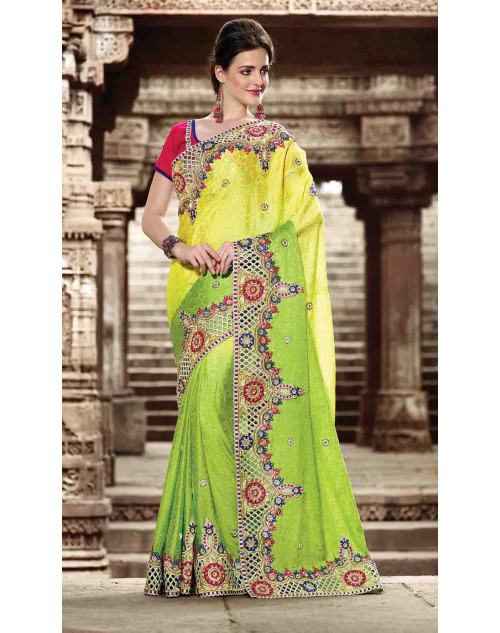 Green and Red Jacquard Bridal Saree