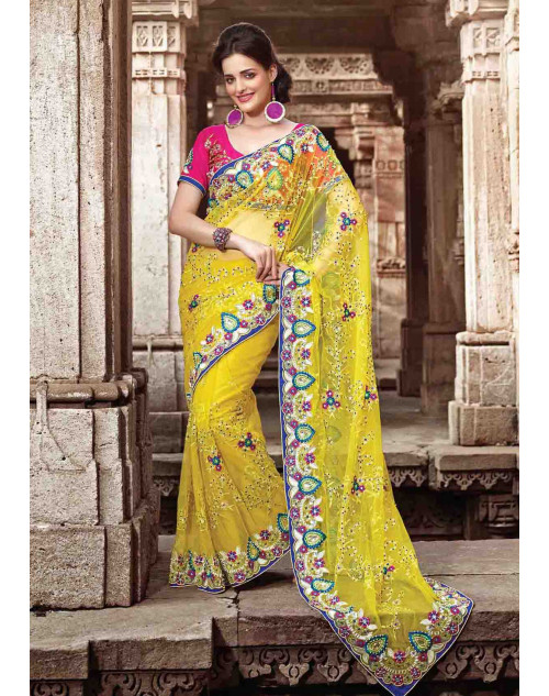 Yellow Net Bridal Saree