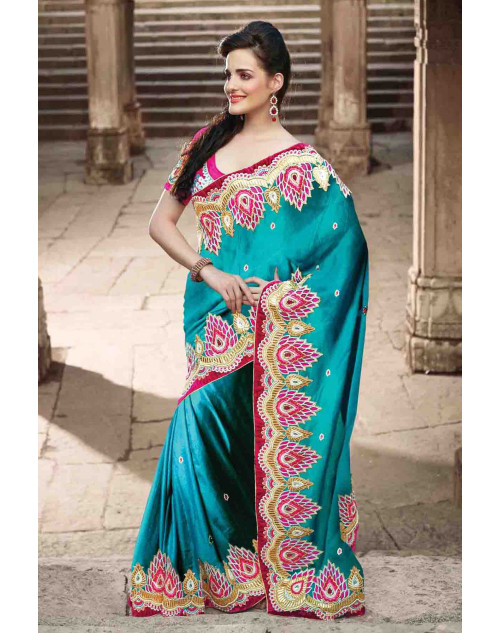 Teal Jacquard and Net Bridal Saree