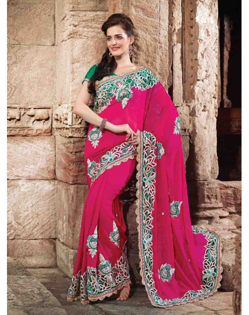 Pink Bemberg Bridal Saree