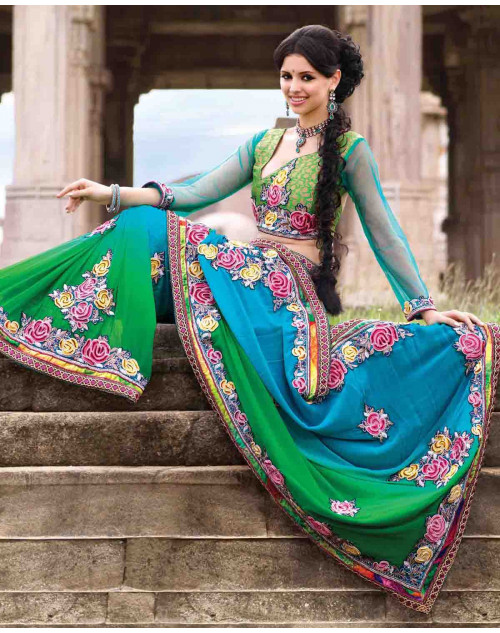 Blue Bemberg Bridal Saree
