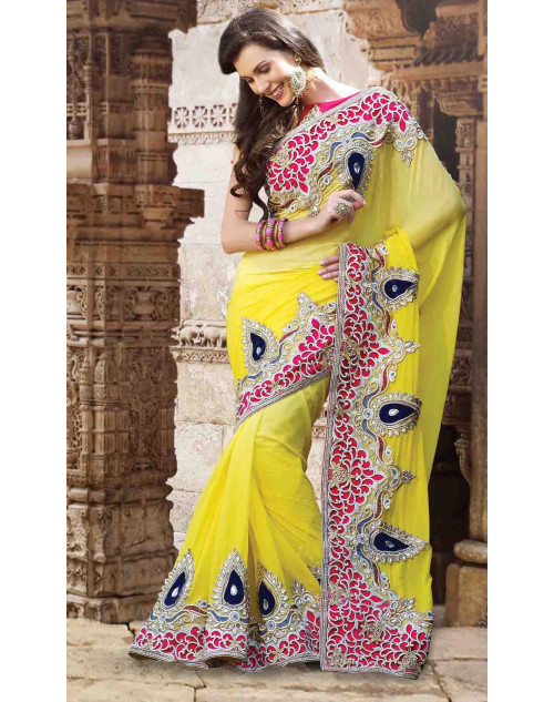 Yellow Chiffon Bridal Saree