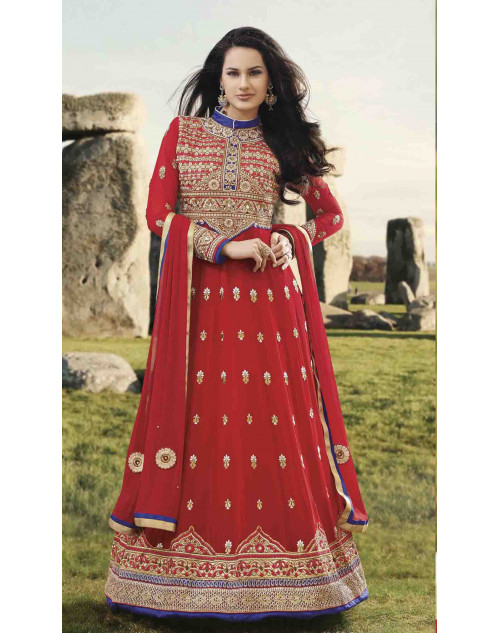 Red Designer Georgette Embroidery Anarkali Salwar Kamiz