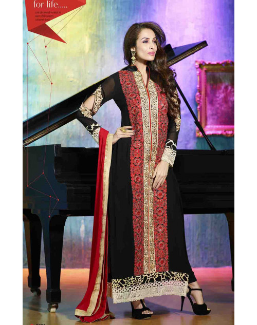Malaika Arora Khan Black and Red Georgette Dress Materials