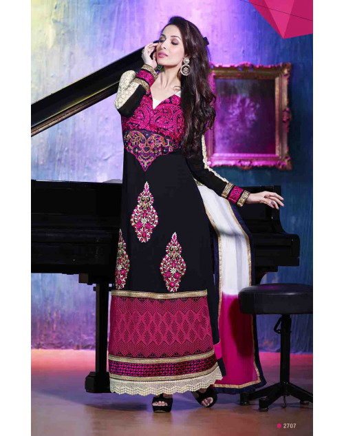 Malaika Arora Khan Black and Pink Georgette Dress Materials