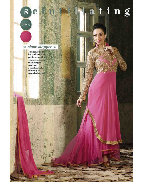Malaika Arora Khan Pink and Burlywood Georgette Dress Materials