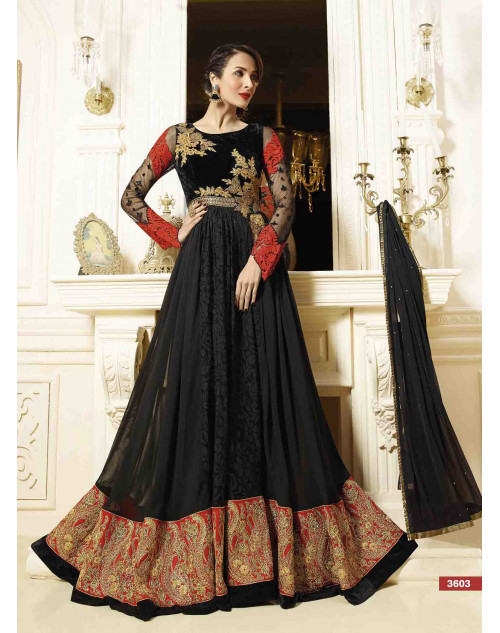 Malaika Arora Khan Black Georgette and Silk Jacket Dress Materials