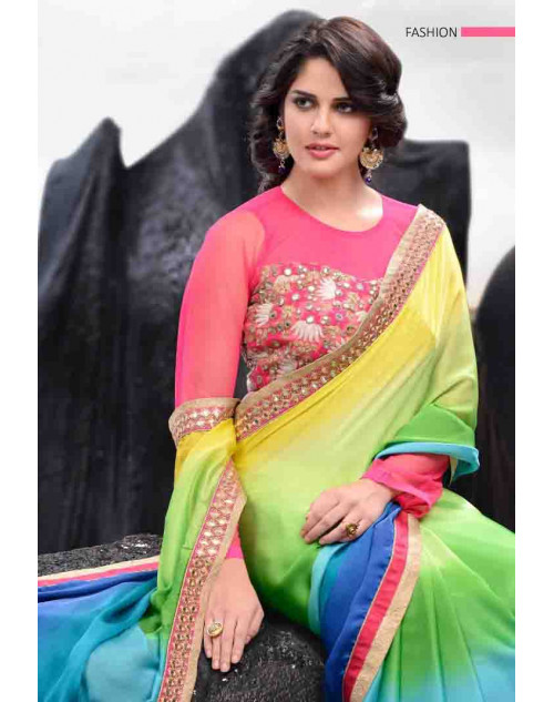 Pink and Multi Designer Satin Saree