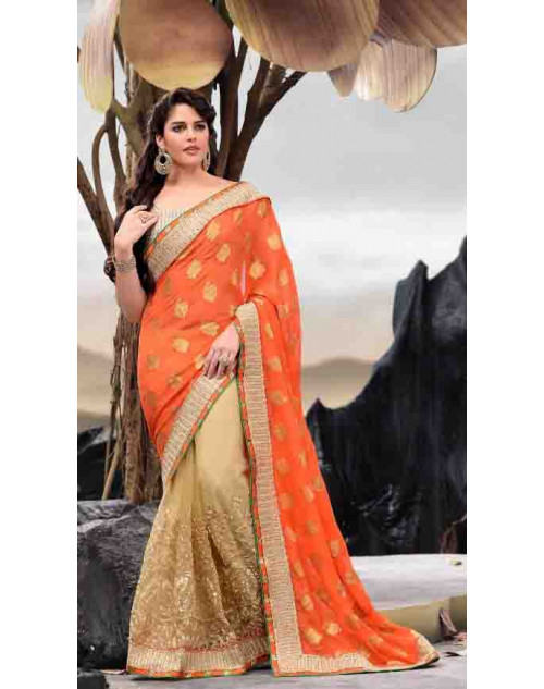 Orange and Peru Designer Viscose and Net Saree