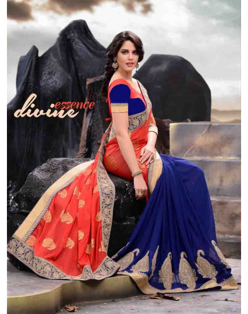 Salmon and Blue Designer Georgette Saree