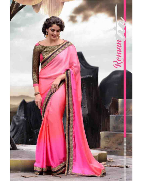 Pink Designer Satin Saree