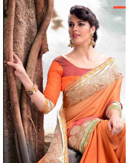 Orange Designer Satin Saree