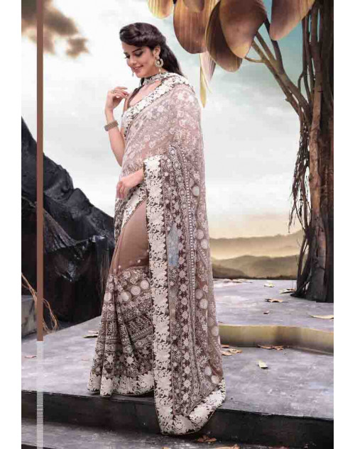 Grey and Off-white Designer Georgette Saree