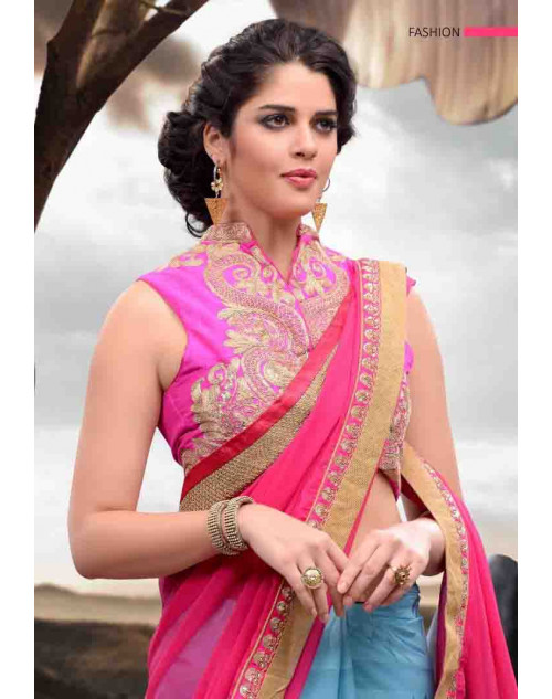 Multi and Pink Designer Chiffon, Satin and Jacquard Saree