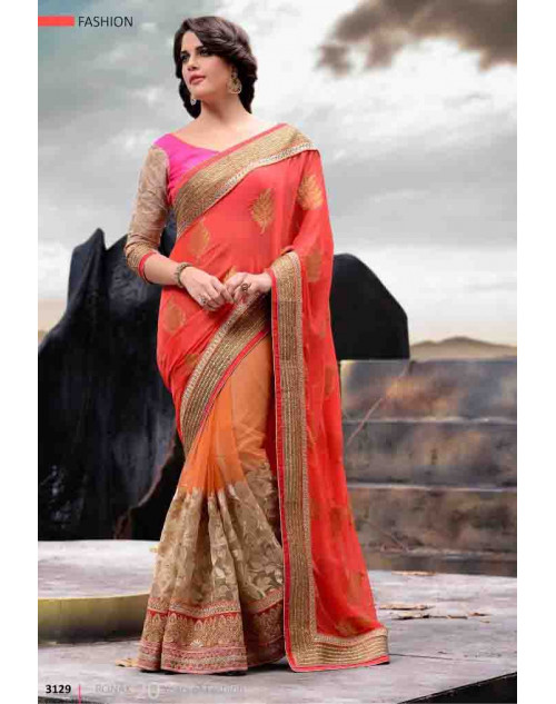 Orange and Pink Designer Georgette and Net Saree