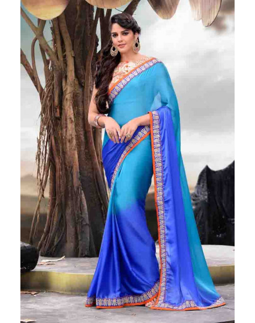 SkyBlue Designer Satin Saree