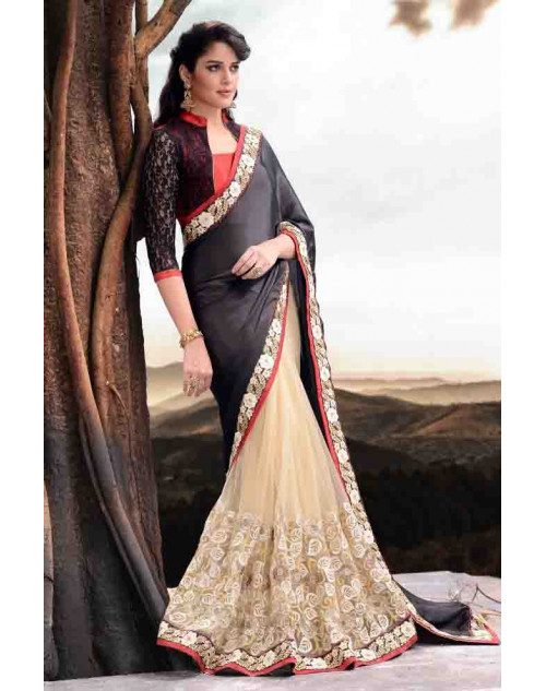 Black Designer Satin and Net Saree
